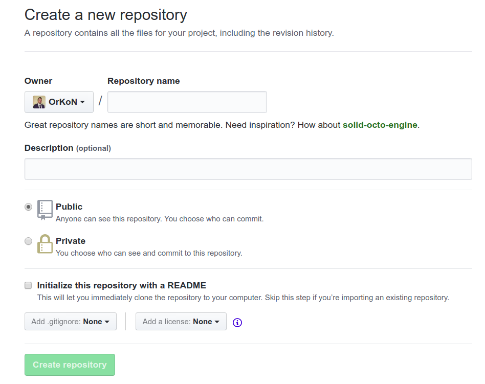 screenshot of the page create new repository