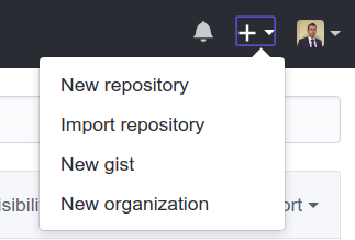 screenshot of the button new repository